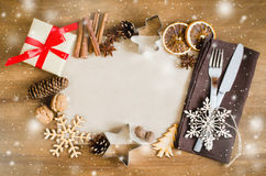 Culinary Background. Christmas Postcard with Empty Paper. Stock Photo