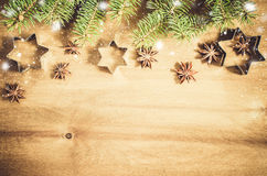 Culinary background. Cutters for cookie, anise and branch of Christmas tree. Stock Images