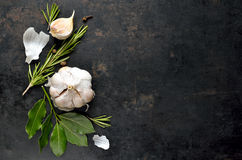 Culinary background. Dark culinary background with garlic, rosemary, bay leaves, pepper and some cloves pictured on it stock photo