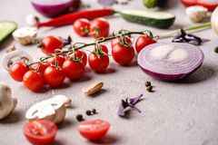 Culinary background of vegetables and herbs. Culinary background, food blog, recipe concept. Layout of fresh healthy green vegetables and herbs. Ingredients for stock photos
