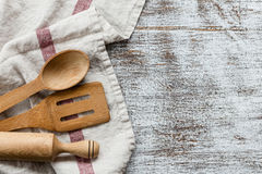 Culinary background. With kitchenware and copy space Royalty Free Stock Images