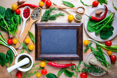 Culinary background. Menu board or culinary background with a place for a text Stock Image