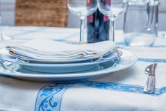 Culinary background. Serving for dinner dishes silverware on a v Royalty Free Stock Photos