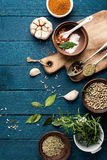 Culinary background with spices on wooden table Stock Photography