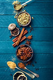 Culinary background with various spices. For Christmas mulled wine Stock Photos