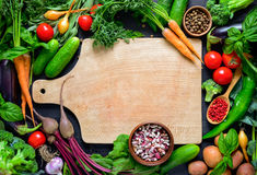 Culinary background. Vegetable culinary background with a space for a text, view from above Royalty Free Stock Photo