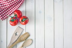 Culinary background. The white wooden surface royalty free stock photo