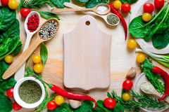 Culinary background. Woth cutting board Royalty Free Stock Image