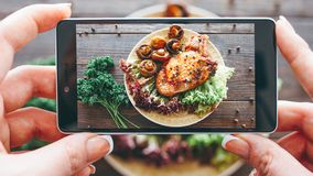 Culinary blog home cooking hobby food recipe. Culinary blog. Home cooking hobby. Food recipe. Closeup of female hands taking picture of roasted meat with grilled royalty free stock photo