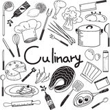 Culinary and cooking doodle of food ingredients and tool icon. Culinary and cooking handwriting doodle of food ingredients and kitchen tools icon in white Stock Image