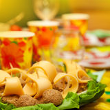 Culinary dish. On the background of the festive table Stock Photos