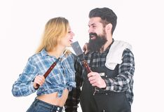 Culinary expert. Tools for roasting meat outdoor. Man bearded hipster and girl. Preparation and culinary. Picnic stock images