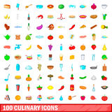 100 culinary icons set, cartoon style Royalty Free Stock Image