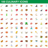 100 culinary icons set, cartoon style. 100 culinary icons set in cartoon style for any design vector illustration Royalty Free Stock Photography