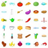 Culinary icons set, cartoon style Royalty Free Stock Images