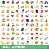 100 culinary icons set, isometric 3d style. 100 culinary icons set in isometric 3d style for any design vector illustration Stock Photography