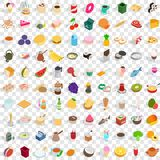 100 culinary icons set, isometric 3d style. 100 culinary icons set in isometric 3d style for any design vector illustration Royalty Free Stock Photos