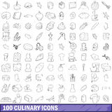 100 culinary icons set, outline style Stock Photo