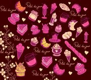 Culinary pattern. Symbols of Paris. Royalty Free Stock Photography