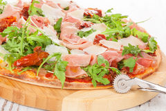 Culinary pizza eating. Royalty Free Stock Photography