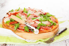 Culinary pizza eating. Royalty Free Stock Photo