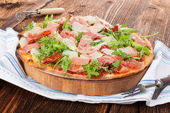 Culinary pizza eating. Royalty Free Stock Photos