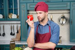 Culinary recipe with pepper. Chef cooking sweet pepper. Vegetarian cuisine ingredient. Man chef wear apron cooking in. Kitchen. Man cook vegetarian recipe royalty free stock photos