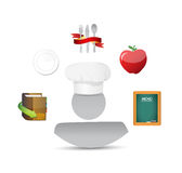 Culinary and restaurant icons around a chef. Royalty Free Stock Photo