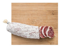 Culinary salami slice background Stock Images