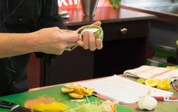 Culinary school knife skills training Royalty Free Stock Photo