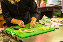 Culinary school knife skills training Stock Photography