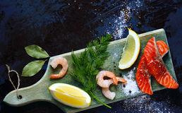 Culinary seafood background Stock Image