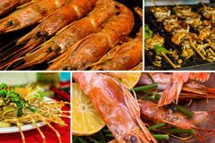 Culinary set collage sea food shish kebab shrimp fried on a grill stuffed lobster a row of langoustine pattern culinary delicacy stock photo