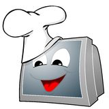 Culinary show. Television set with cute face and chef cap Royalty Free Stock Photography