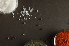Culinary spices background with sea salts, parpika and thyme in the small glass bowls. royalty free stock images