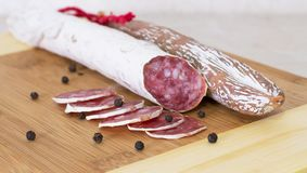 Culinary traditional spanish sausages on wooden Royalty Free Stock Photo
