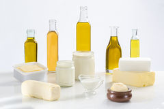 Culinary variety of fats. On white bacground royalty free stock images