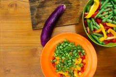 Culinary workshop. Vegetable salad Stock Photos