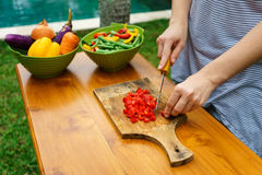 Culinary workshop. Vegetable salad Royalty Free Stock Photo