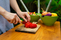 Culinary workshop. Vegetable salad Royalty Free Stock Photos