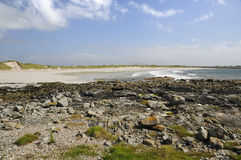 Culla Bay. White Shell Sand Beach & Rocky shore of Culla Bay, Benbecula, Outer Hebrides Stock Images