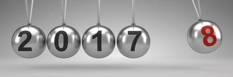 Culla del ` s di Newton che mostra 2018, nuovo anno Immagine Stock Libera da Diritti