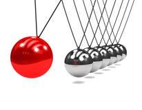 culla di Newton 3d con l'oscillazione della palla rossa Fotografia Stock Libera da Diritti