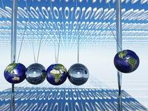 Culla di Newton del mondo con il file binario Fotografie Stock Libere da Diritti