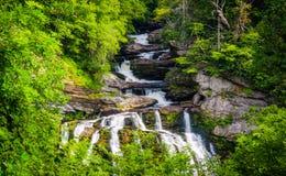 Cullasaja在Nantahala国家森林里下跌,北卡罗来纳 免版税库存图片