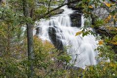 Cullasaja Falls Waterfall. Cullasaja Falls is a scenic roadside 200 foot waterfall along NC 64 in North Carolina. Seen here in autumn stock photos