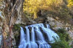 Cullasaja River and Gorge. The Cullasaja river cascades through a gorge at the lower Culasaja Falls in the Nantahala National Forest near Highlands, North Stock Photo