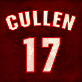 Cullen. Twilight theme in sport jersey style on wine red fabric background with blood stains and number 17 (age of main characters). Twilight saga and name Stock Illustration