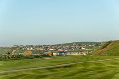 Cullen village view from the Bay stock photography