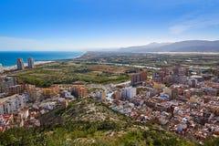 Cullera beach aerial with skyline of village Valencia Royalty Free Stock Photos